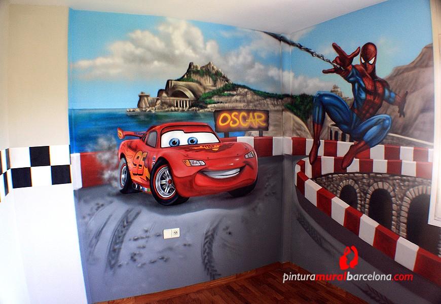Mural cars y spiderman habitaci n infantil 2014 for Cuartos decorados rayo mcqueen