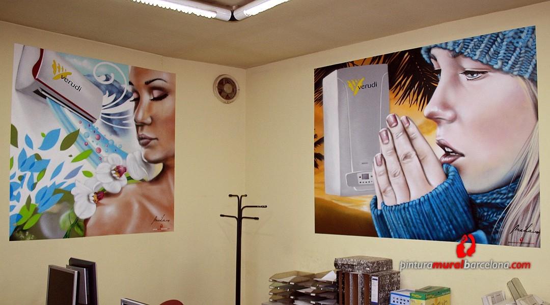 Mural graffiti en despacho pintura mural barcelona - Pintura mural barcelona ...