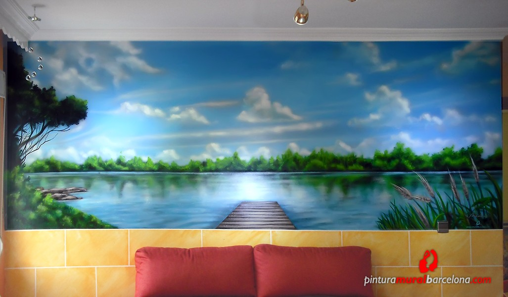 Mural graffiti paisaje lago pintura mural barcelona for Murales de pared de paisajes