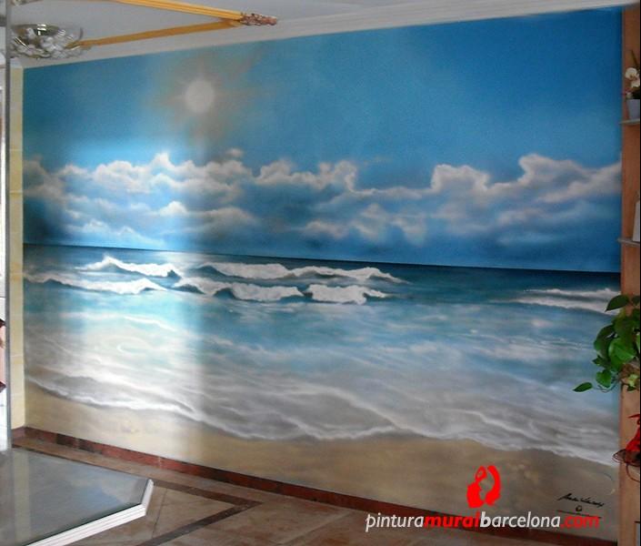 Mural graffiti paisaje playa pintura mural barcelona for Murales de pared de paisajes
