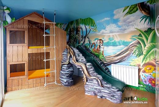 Casita selva habitaci n infantil - Pinturas habitaciones infantiles ...