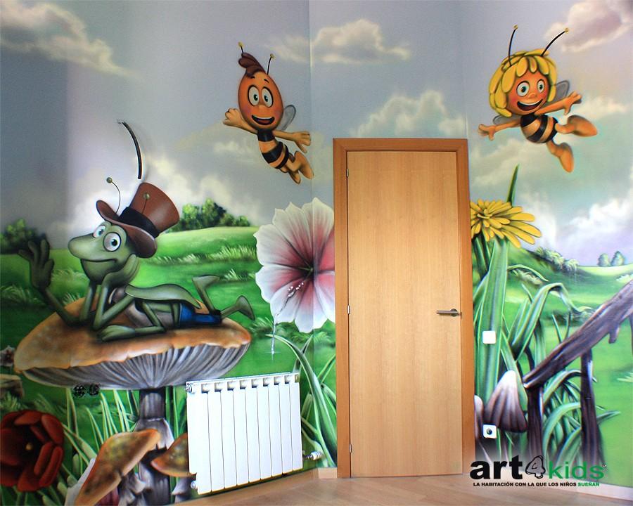 La abeja maya habitaci n infantil 2013 pintura mural - Murales para habitaciones infantiles ...