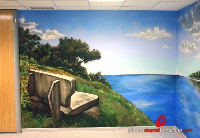 Mural graffiti paisaje en oficina sant cugat 2013 spray - Pintura mural barcelona ...