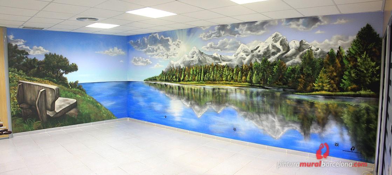 mural graffiti paisaje en oficina sant cugat 2013 spray On murales de paisajes en 3d