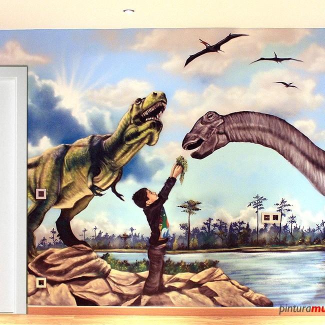 Mural graffiti en habitaci n de dinosaurios dosrius 2013 - Pintura mural barcelona ...