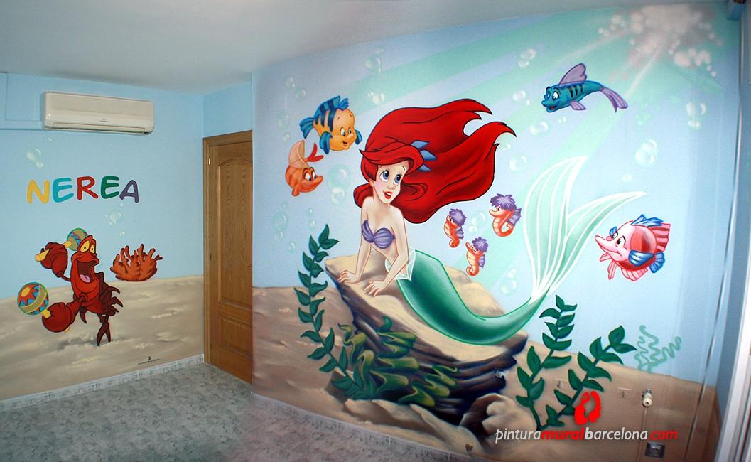 La sirenita habitaci n infantil 2013 pintura mural for Como pintar un mural infantil