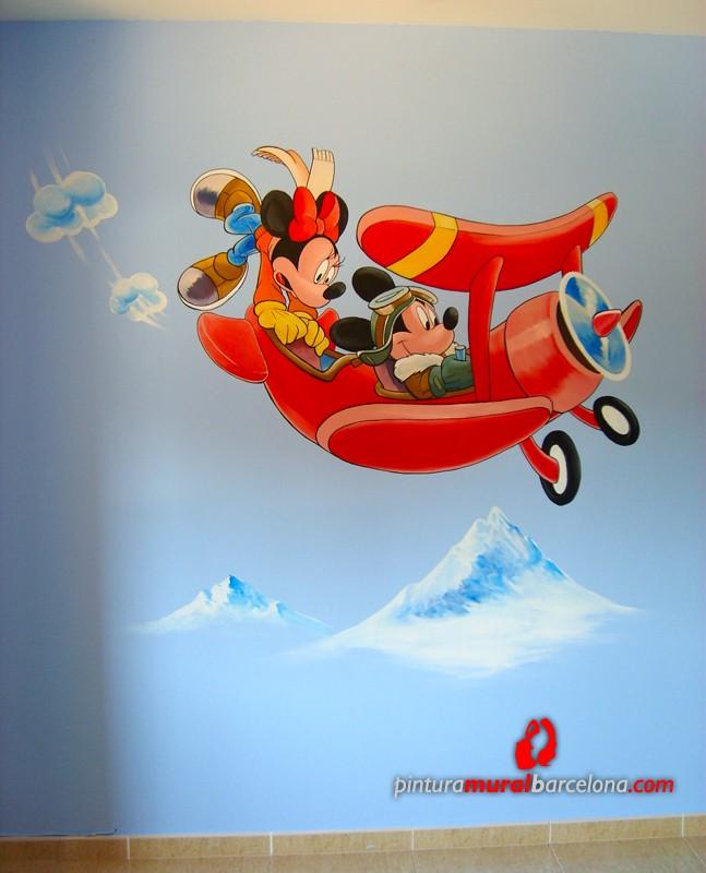 Mickey y minnie habitaci n infantil 2007 pintura - Pintura mural barcelona ...