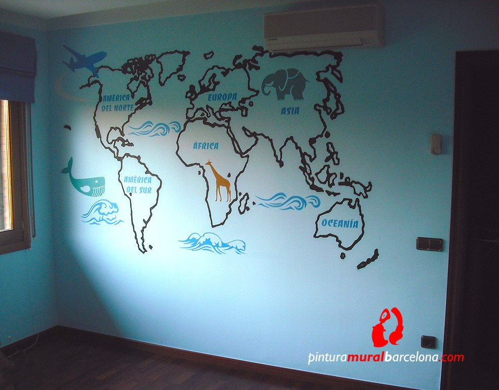 Habitaciones infantiles archives pintura mural barcelona - Mural mapa mundi ...