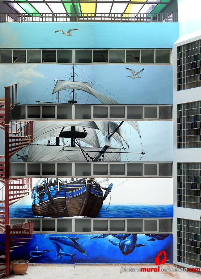 Gran mural marino graffiti en fachada patio interior 2014 - Pintura mural barcelona ...