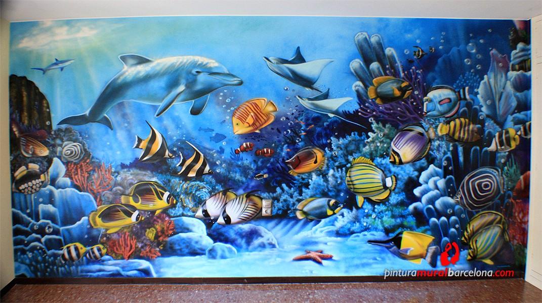 Mural pintado fondo marino spray pintura mural - Pintura mural barcelona ...