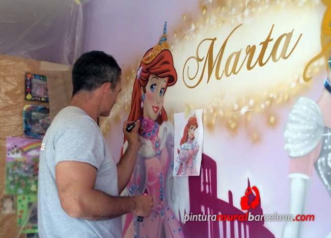 Princesas cenicienta y ariel mural habitaci n infantil for Como pintar un mural