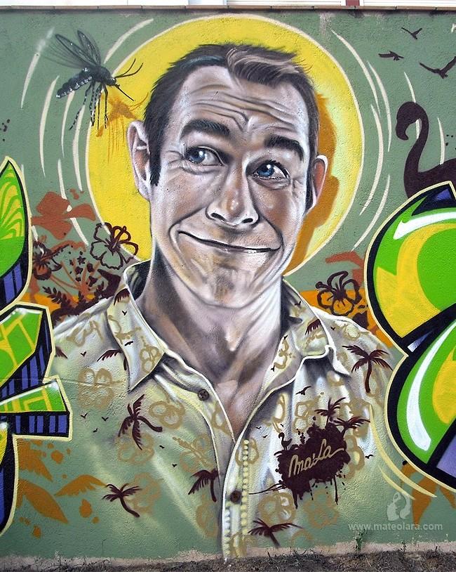 MURAL GRAFFITI TROPICAL CON MOSQUITO TIGRE - mosquito-graffiti-mateo-lara-mala-mataro-323746_650x814