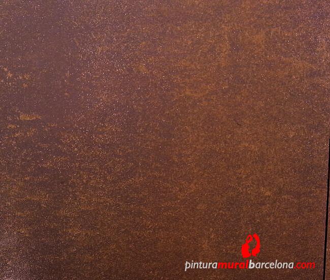 Imitaci n acero corten oxidado pintura mural barcelona for Acero corten perforado oxidado