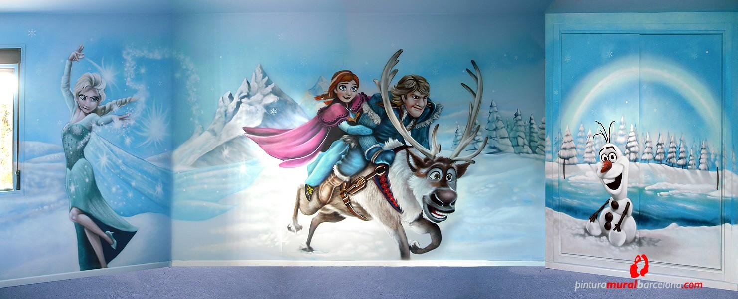 Frozen elsa anna olaf kristoff y sven mural - Murales de pared pintados a mano ...