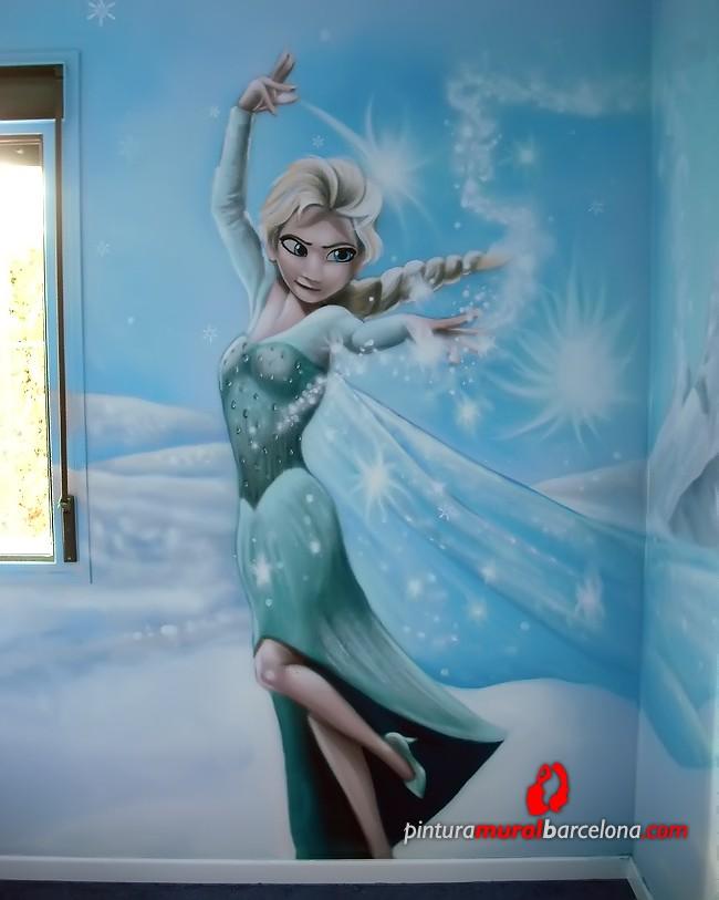 Frozen elsa anna olaf kristoff y sven mural for Habitaciones para ninas frozen