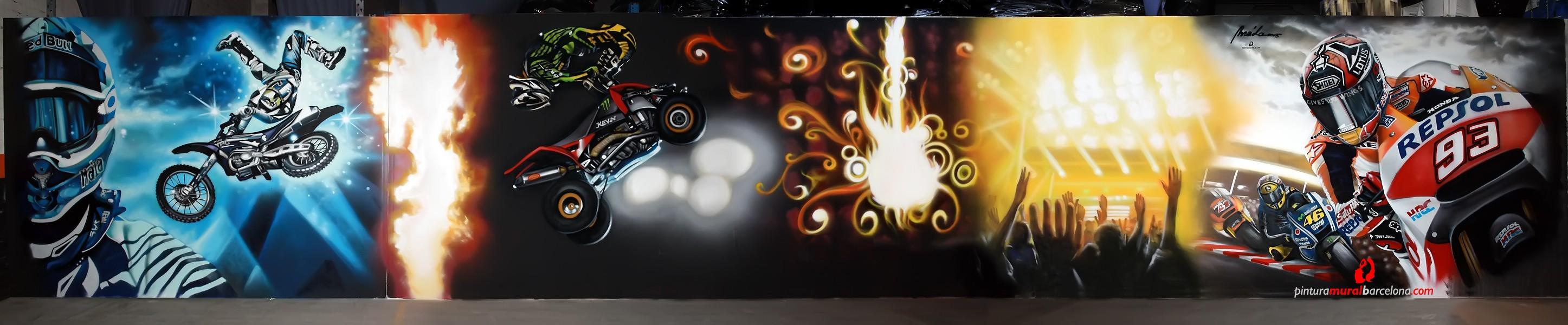 Mural graffiti moto quad freestyle pintura mural - Pintura mural barcelona ...