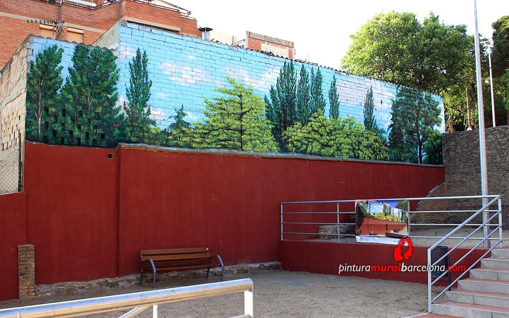 Mural graffiti paisaje en pared medianera de parque - Pintura mural barcelona ...