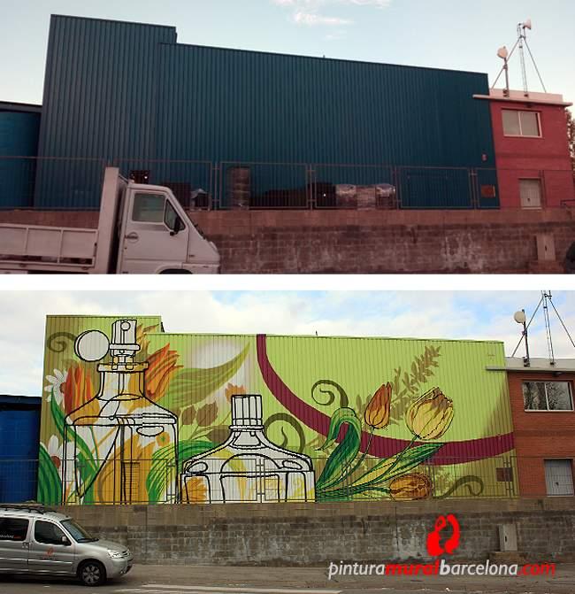 Mural corporativo fachada industrial eurofragance - Pintura mural barcelona ...