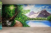 Paisaje 3D mural bosque