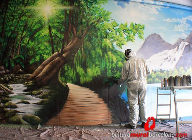 Paisaje 3d mural bosque pintura mural barcelona mateo - Pinturas para suelos de garajes ...