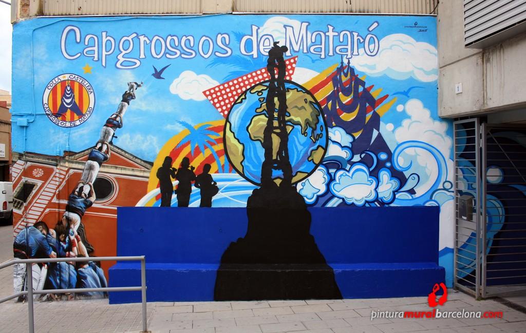 mural colla capgrossos de matar pintura mural barcelona