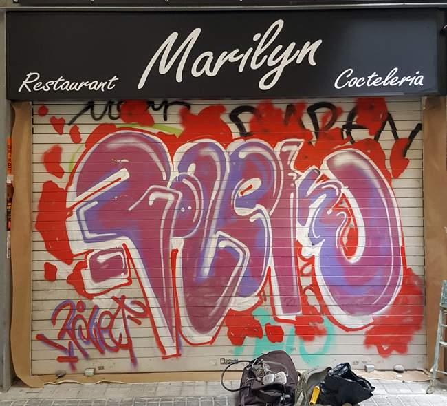 Persiana marilyn pintada pintura mural barcelona mateo - Pintura mural barcelona ...
