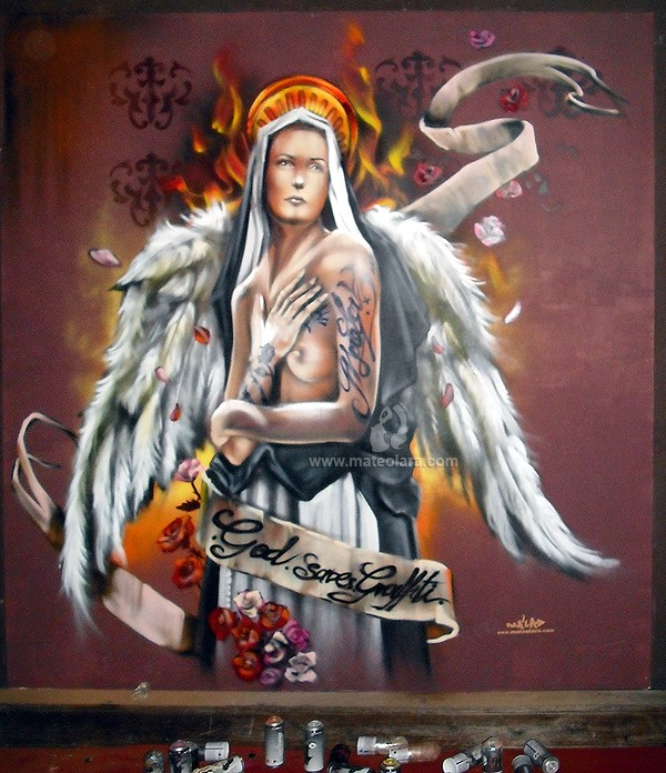 GOD SAVES GRAFFITI en Vinizius, panel 2.2×2.4 m. – Mataró (Spain). 2012 Copyright [Espray]