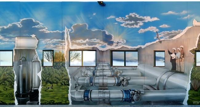 EQUIPAMIENTO BOMBEO 1 – 17 x 6,6m.(112 m2), Sant Boi de Llobregat (Spain). 2008 Copyright [Base de pintura plástica y espray]