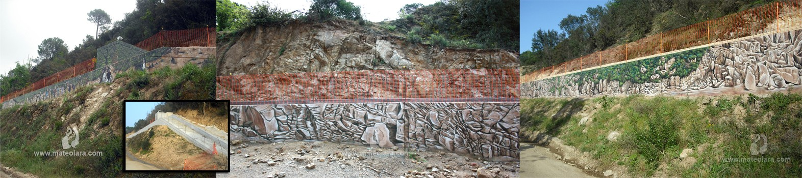 Trompe l'oeil CAMUFLAJE – 150 x 2m.(300 m2), Fogars de la Selva (Spain). 2011 Copyright [Base de pintura plástica y espray]