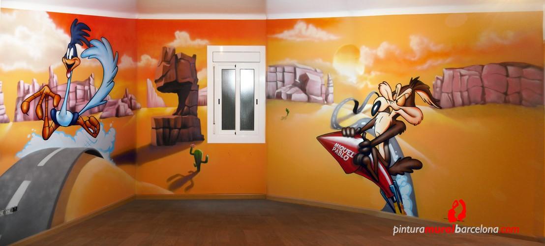 CORRECAMINOS (BEEP-BEEP) y COYOTE – Habitación infantil. Mollet del Vallès (Spain). 2013