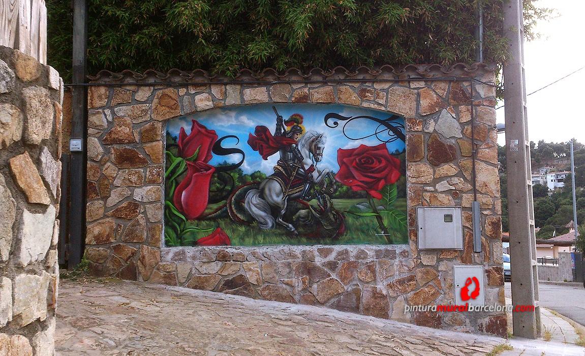 Mural arcada casa sant jordi argentona 2013 spray - Pintura mural barcelona ...