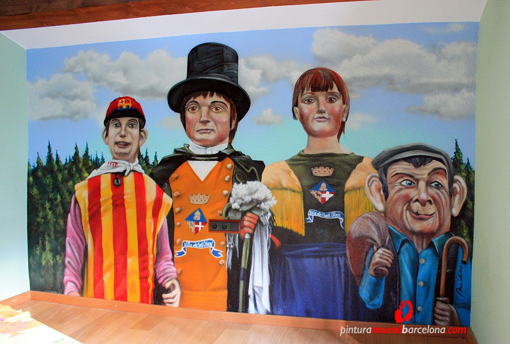 Mural gegants sant celoni sant esteve de palautordera - Pintura mural barcelona ...