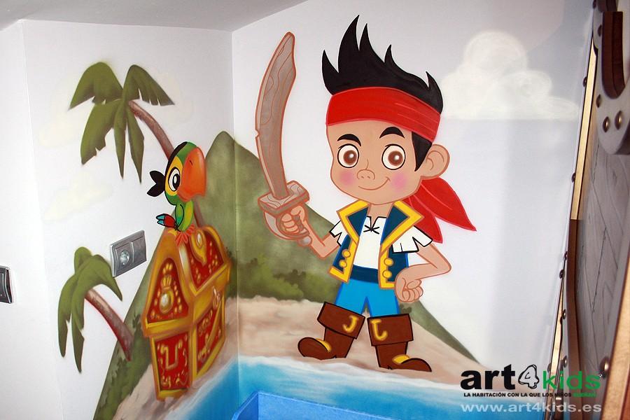 Jake y los piratas habitaci n infantil 2013 pintura for Mural graffiti
