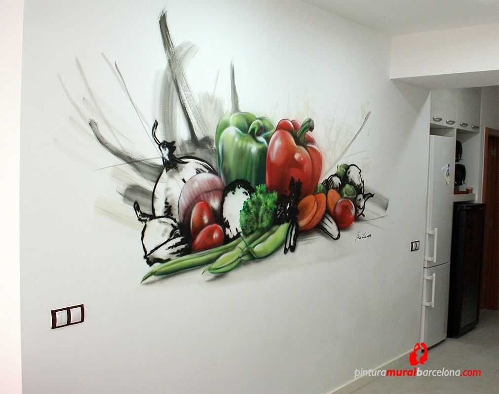 Mural bodeg n art stico en cocina matar 2013 spray for Murales para cocinas