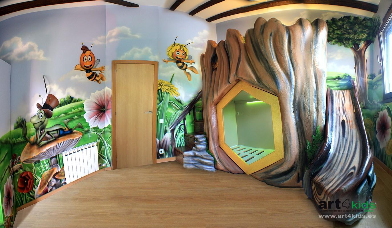 La abeja maya habitaci n infantil 2013 pintura mural barcelona mateo lara pintura - Habitaciones infantiles tematicas ...