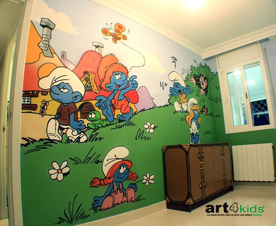 Los pitufos habitaci n infantil 2013 pintura mural for Mural para habitacion