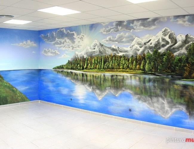 MURAL GRAFFITI PAISAJE EN OFICINA, Sant Cugat ©2013 [Spray]