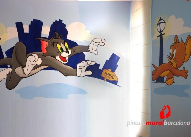 Tom y jerry habitaci n mural infantil matar spain 2006 pintura mural barcelona mateo - Mural habitacion infantil ...