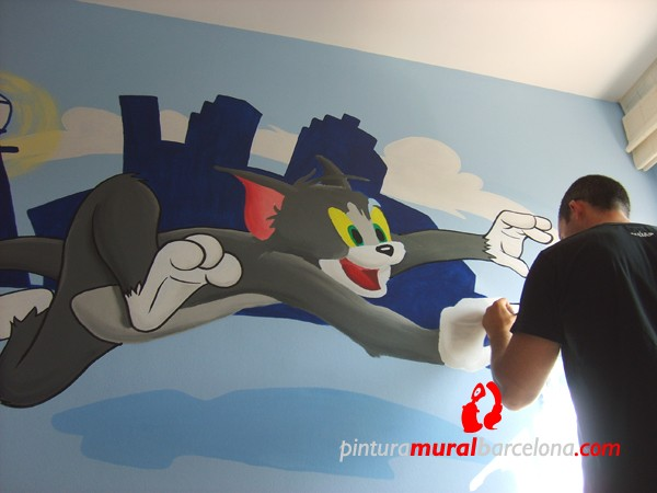 tom-jerry-mural-infantil-room-makig-of
