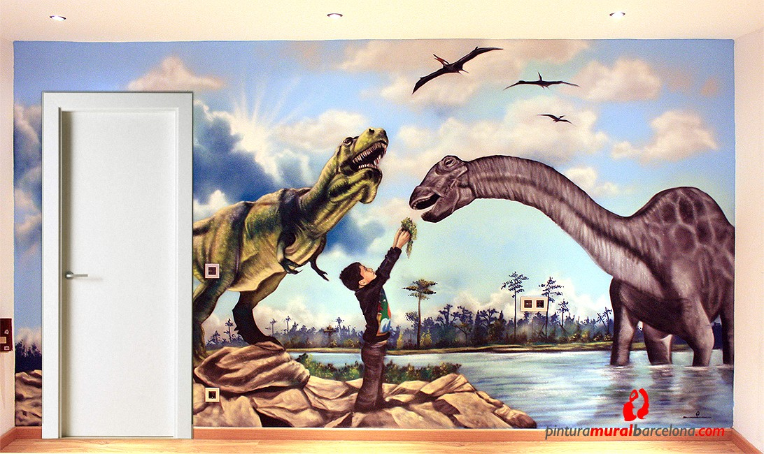 Mural graffiti en habitaci n de dinosaurios dosrius 2013 for Mural graffiti