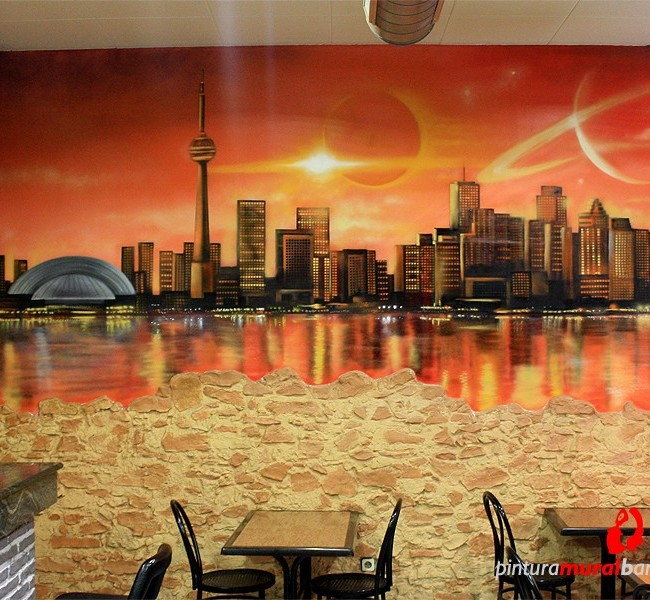 MURAL GRAFFITI PAISAJE SKYLINE EN BAR ©2014 [Spray]