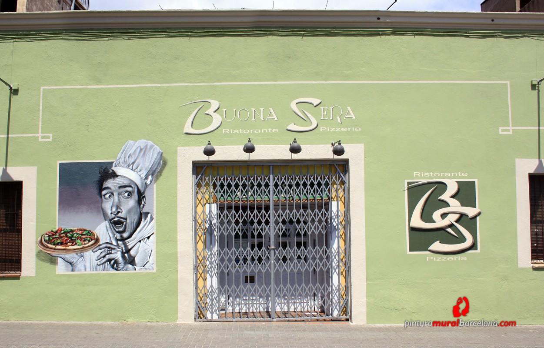 Mural pintado fachada restaurante pintura mural for Como pintar un mural exterior