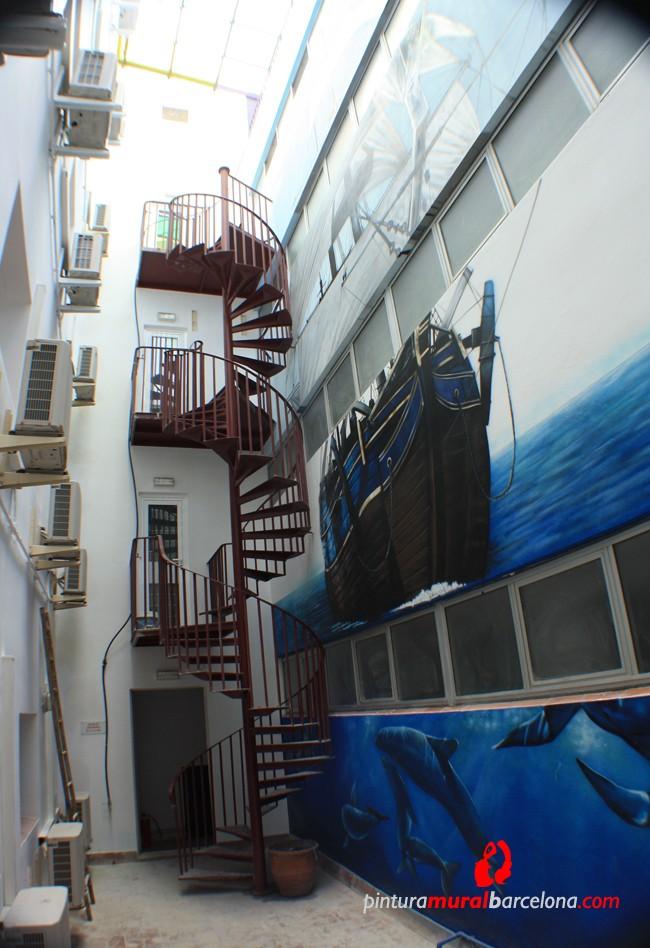 mural-grande-graffiti-fachada-barco-escalera
