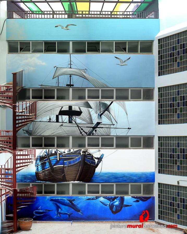GRAN MURAL MARINO GRAFFITI EN FACHADA PATIO INTERIOR 2014 [Espray]