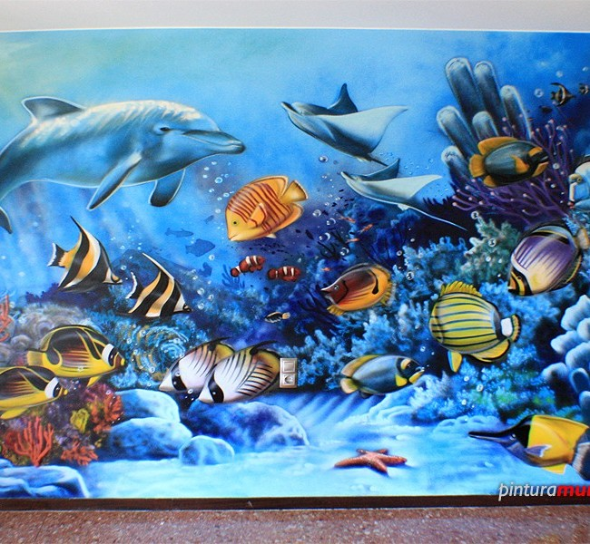 Mural pintado fondo marino spray pintura mural for Peces de acuario marino