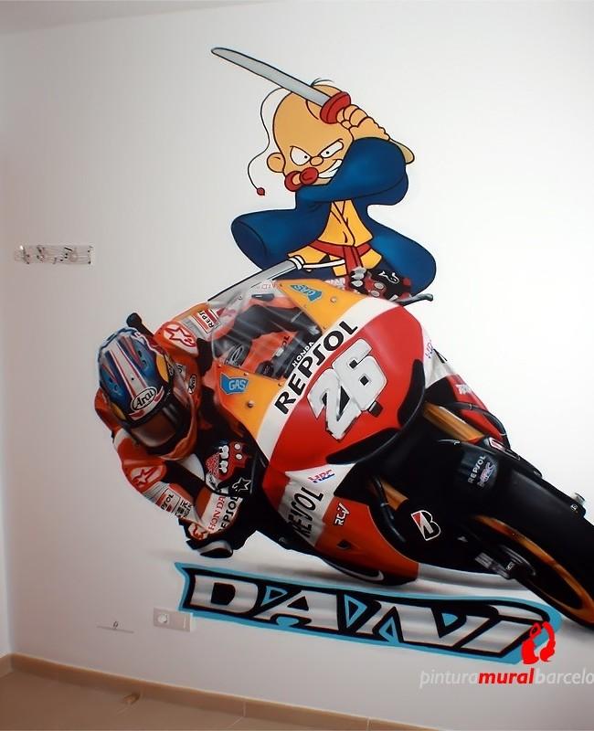 MURAL GRAFFITI MOTOS DANI PEDROSA 2014