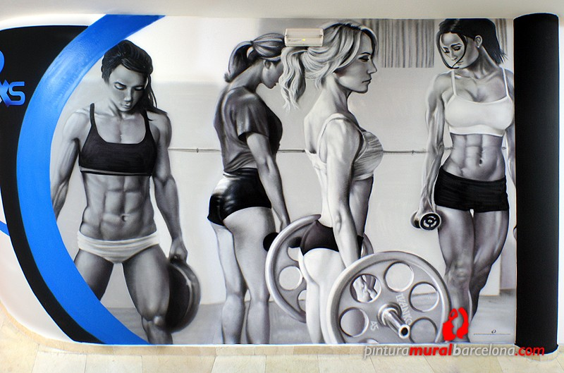 Mural graffiti gimnasio bodybuilding pintura mural for Mural graffiti