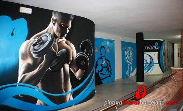 Mural graffiti gimnasio bodybuilding pintura mural - Decoracion de gimnasios ...