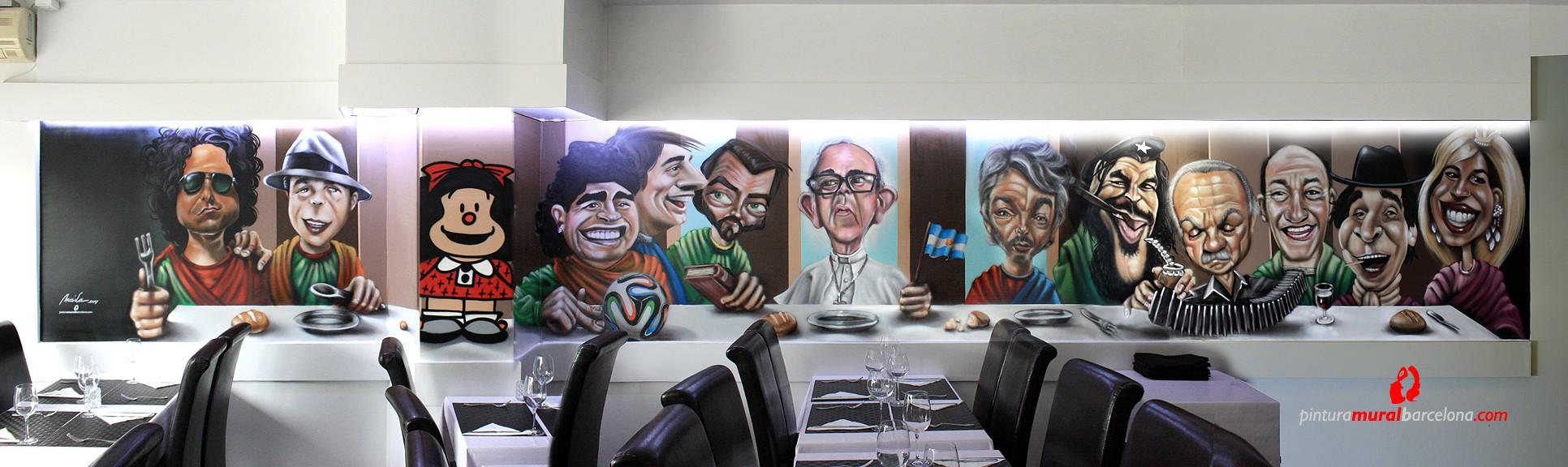 Mural graffiti con caricaturas en restaurante pintura - Pintura mural barcelona ...