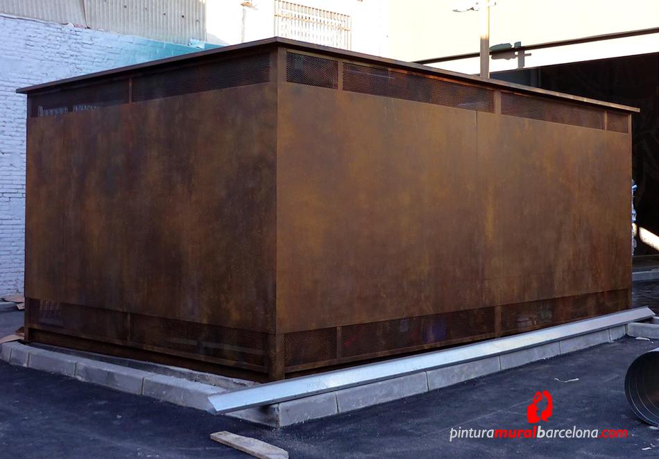 Imitaci n acero corten oxidado pintura mural barcelona - Acero corten fachadas ...